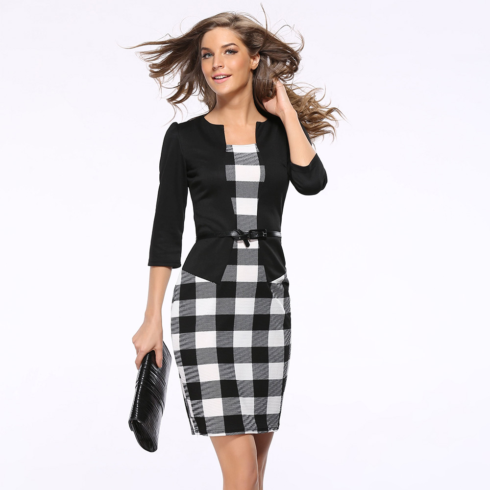 women formal dress elegant faux twinset belted tartan