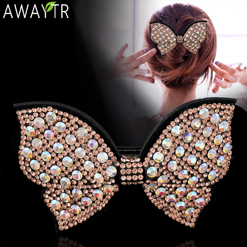Ladies Bow Hair Claw Crystal Multicolor Clip Hair Clip Headwear Fashion Women Hairband Girl Rhinestone Hairpin Hair Accsessories