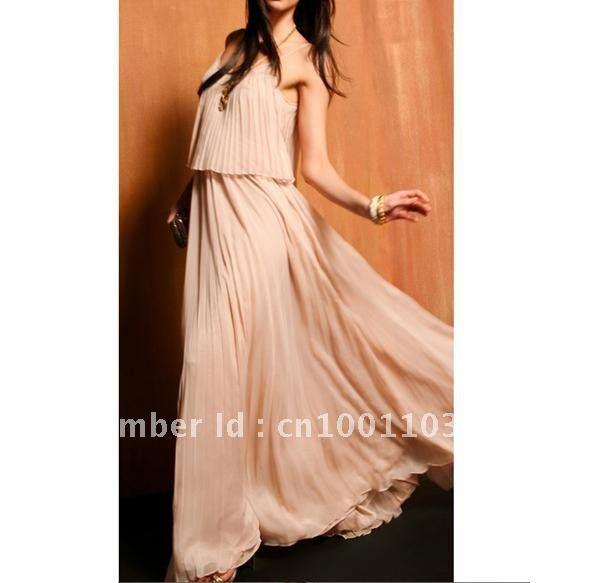 Korea Women's Boho Sexy Ruffle Elegant Chiffon Maxi Long Dress (the headdress flower is free) ~free shipping#5106