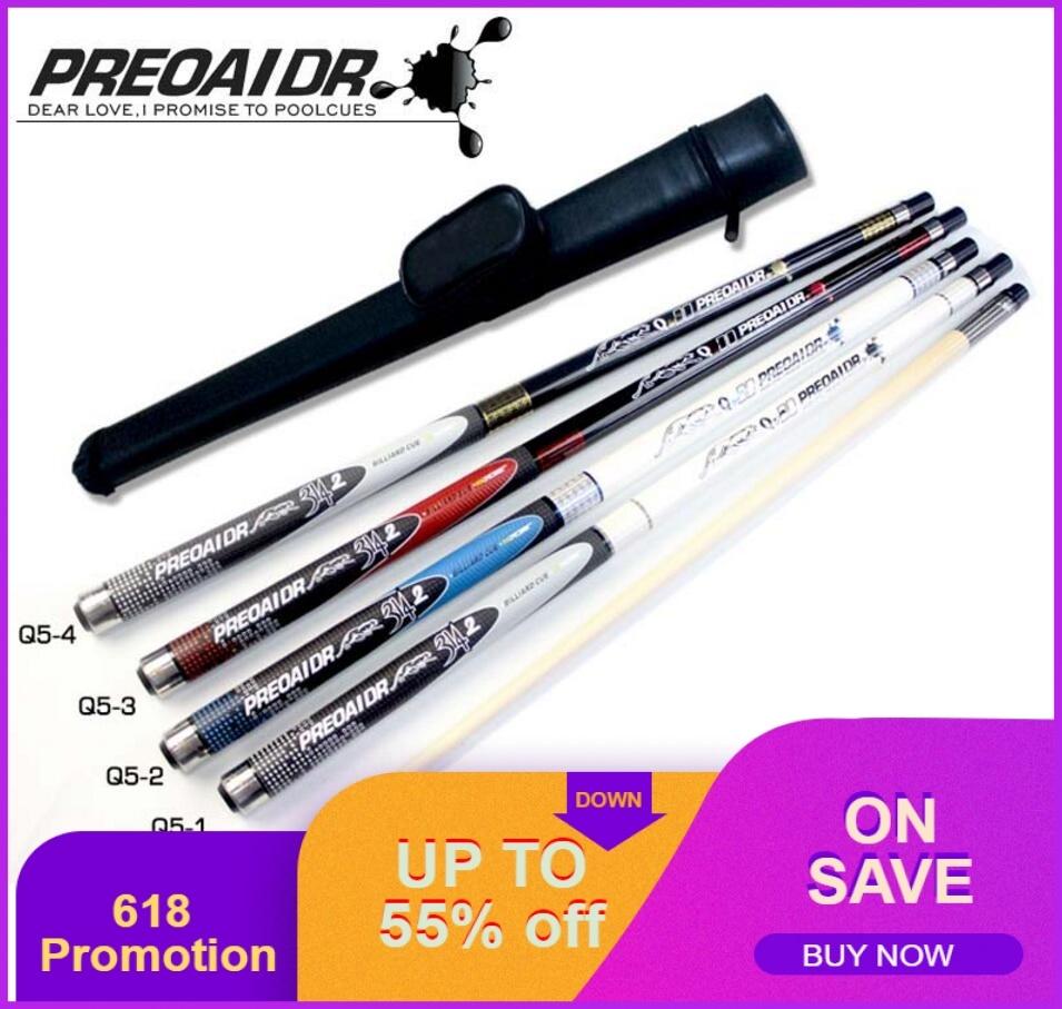 PREOAIDR 3142 Q5 Billiard Pool Cues Stick Kit 11.5mm 13mm Tip 4 Colors Options with Pool Cue Case Professional Billar China 2019