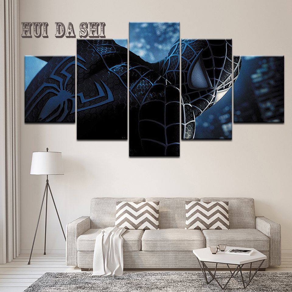 HD Canvas Print Modern Painting Wall Art 5 Panel Movie Character Spiderman Poster Frame Home Decoration Living Room Pictures