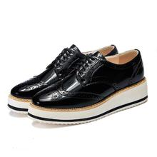 British style Women Brogue Shoes Lace-Up Platform shoes Patent Leather Flats Casual shoes 02
