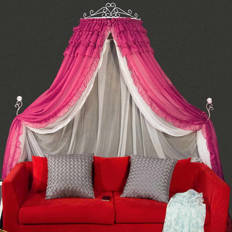 XYZLS Luxury Palace Princess Solid Bed Valance Home Bed Mantle Universal Rose Red Pink Single-Door Palace Mosquito Net