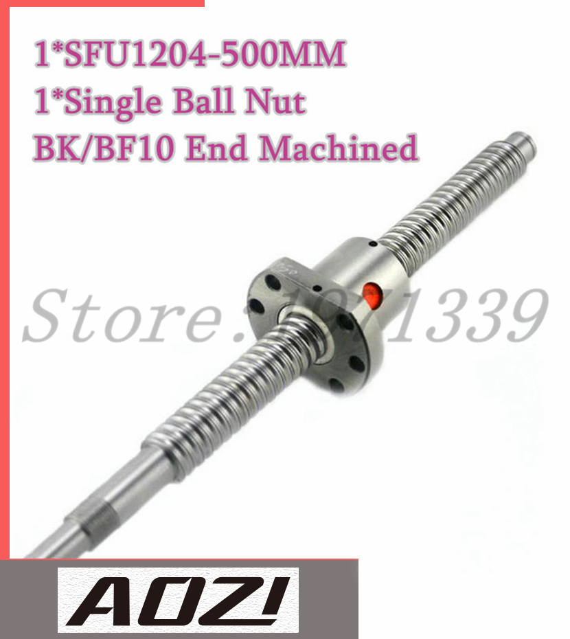 One Set Ball Screw Kit 1pc SFU1204 With 500mm Leng End Machining For BK/BF10 +1PC High Quality Ballnut Free Shipping
