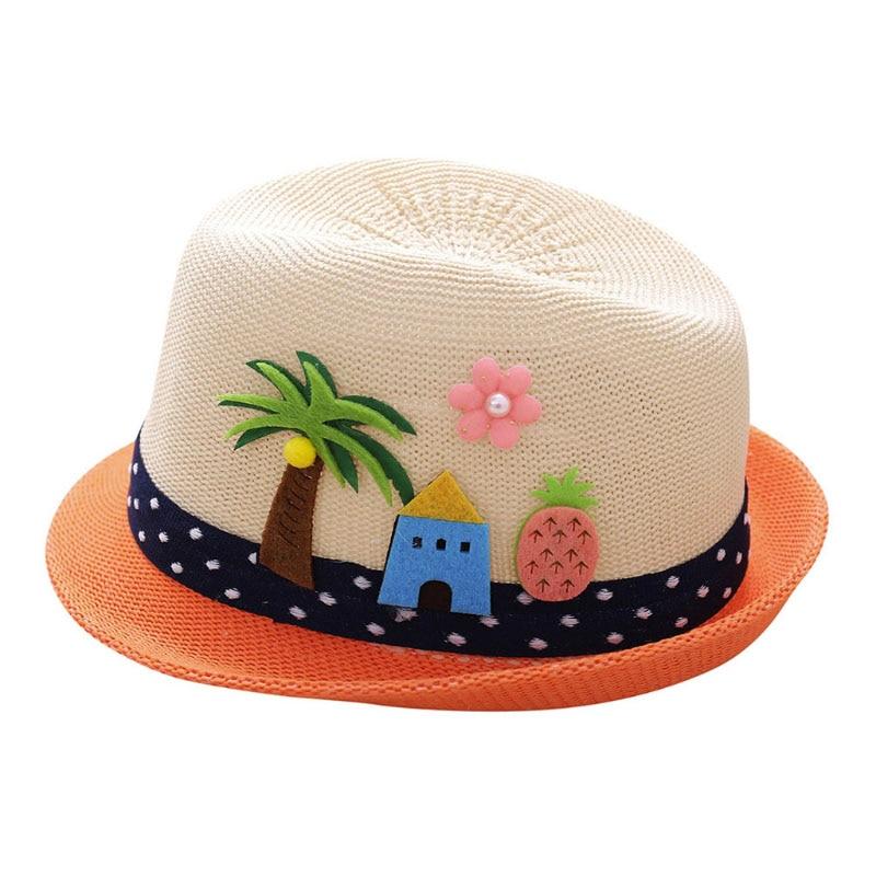 2018 niños de verano brida árbol flor sombrero de paja Playa Sol ... b9cfeed84cd
