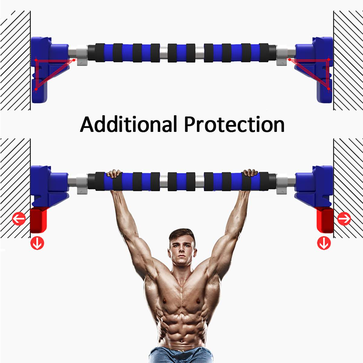 500Kg Horizontal Pull Up Bar Made Of Stainless Steel And Sponge Material For Gym Workout