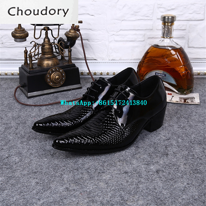 Choudory New Snakeskin Height Increasing Breathable Men Casual Shoes Lace Up Mens Trainers Pointed Toe Leather Wedding Shoes Men