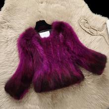 New arrival natural raccoon dog fur coats women short slim gradient color real fur coat outerwear