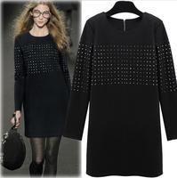 ビーズレディースドレス新しい到着ラウンドネックストレートドレス長袖プラスサイズチュニックtシャツドレスvestidoデ·フェスタcurto
