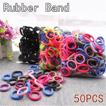 50pc/lot Girls Princess Hair Accessories Kids Candy Color Hair Rope Elastic Scrunchie Hair Bands Mini Hair Rings Rubber Band Hot image