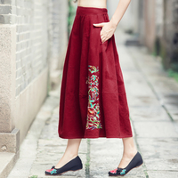 Qiu Dong Outfit New National Wind Pleated Skirt Dress Embroidery Cotton And Linen Skirts Posed Female