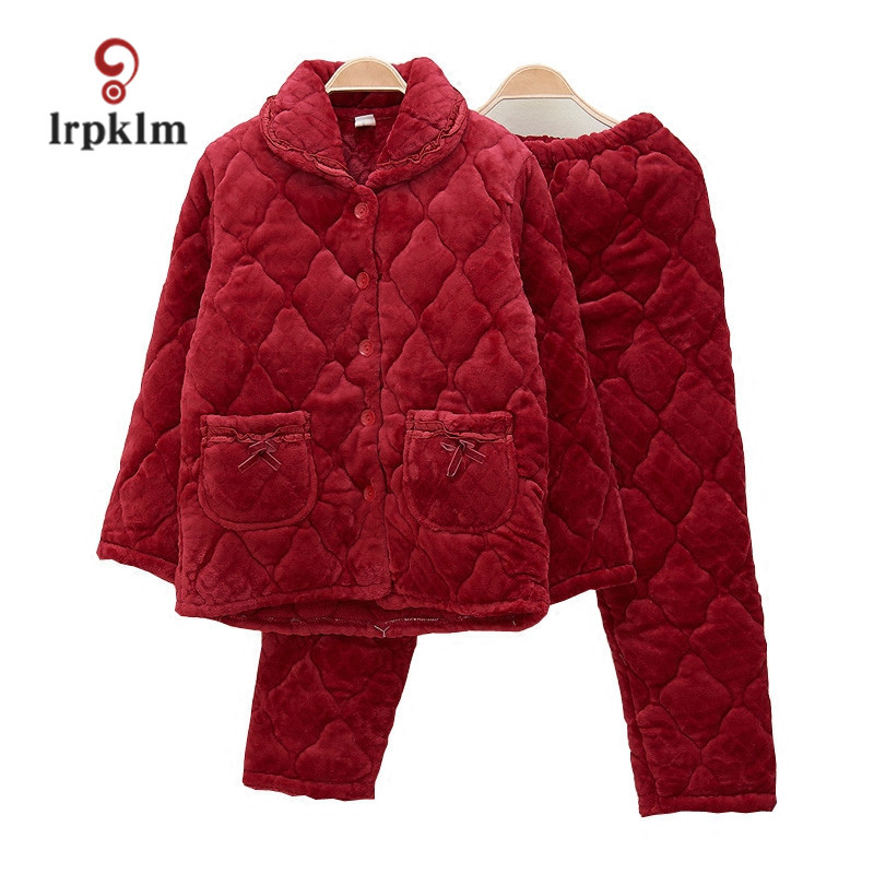 2017 Middle And Old Age Flannel Pajamas Winter Thickening Warm big Mama Pajamas Cotton Clothing Home Service SY877