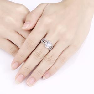 Image 5 - Newshe plata sólida 925 conjunto de anillo de compromiso de boda para mujer, circonitas de forma ovalada AAA, bandas de decoración artística, joyería clásica