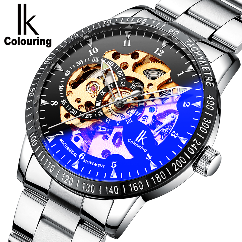 IK Coloring Watch 2018 Mens Luminous Hands Gears Visible See Through Auto Mechanical Wristwatch with Box Free Ship