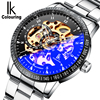 IK Coloring Watch 2016 Men S See Through Auto Mechanical Wristwatch With Box Free Ship