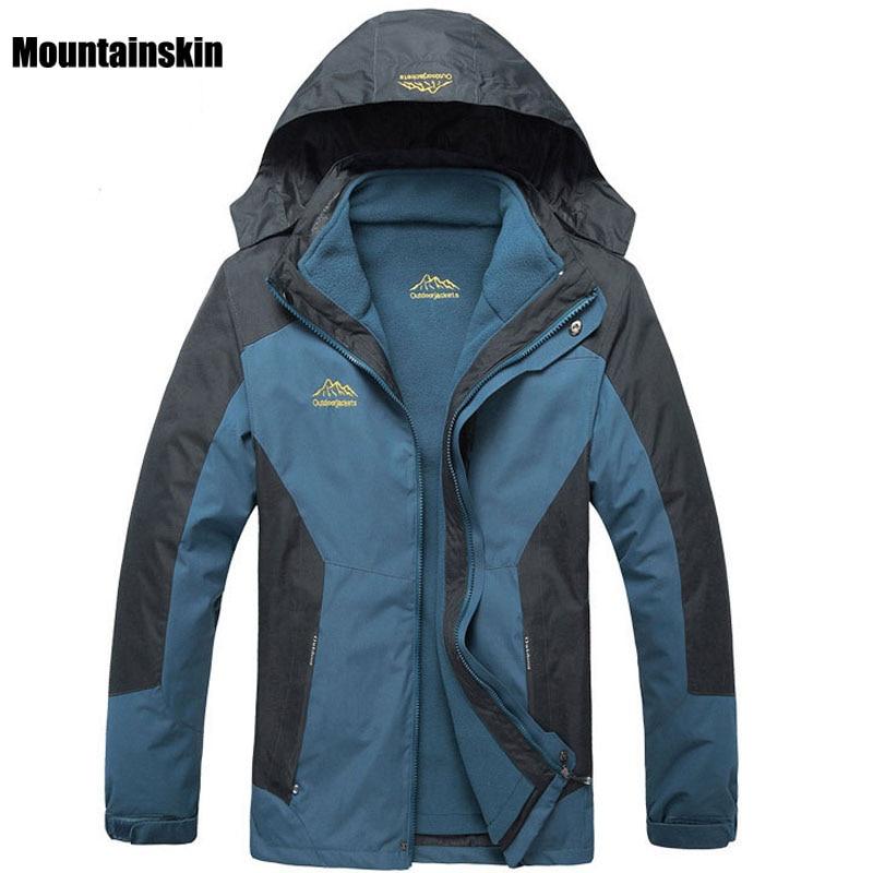 6XL 2018 Men's 2 Pieces Winter Inner Fleece Jacket Outdoor Sport Mountianskin Warm Coat Hiking Skiing Camping Male Jackets VA069