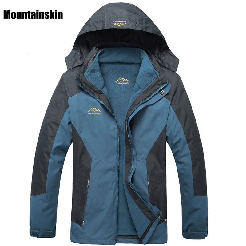 6XL 2017 Men's 2 Pieces Winter Inner Fleece Jacket Outdoor Sport Mountianskin Warm Coat Hiking Skiing Camping Male Jackets VA069 yin qi shi man winter outdoor shoes hiking camping trip high top hiking boots cow leather durable female plush warm outdoor boot