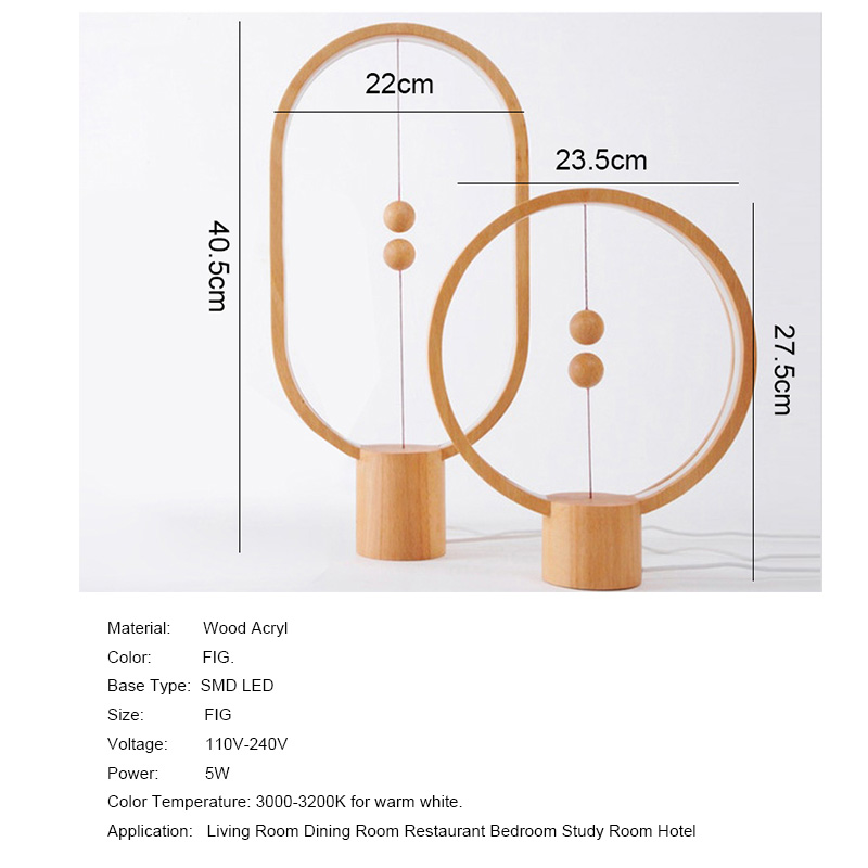 Nordic Modern Art Creativity LED Desk Lamps Wood Ball Magnetic Switch Study Table Light Bedroom Wooden Bedside Lamp Lighting 5W in Desk Lamps from Lights Lighting