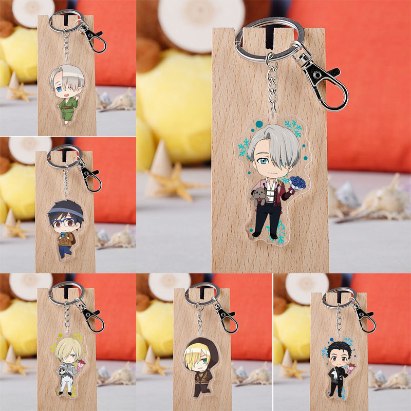Anime YURI On ICE Keychain Cartoon Figure Victor Nikiforov Yuri Katsuki Pendant Key Ring