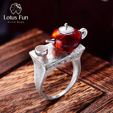 Lotus Fun Real 925 Sterling Silver Natural Amber Original Handmade Fine Jewelry Vintage Ring Cute Teapot Rings for Women Bijoux(China)