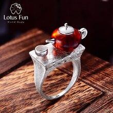 Lotus fun real 925 prata esterlina natural âmbar anel original artesanal jóias finas vintage bonito bule anéis para mulher bijoux