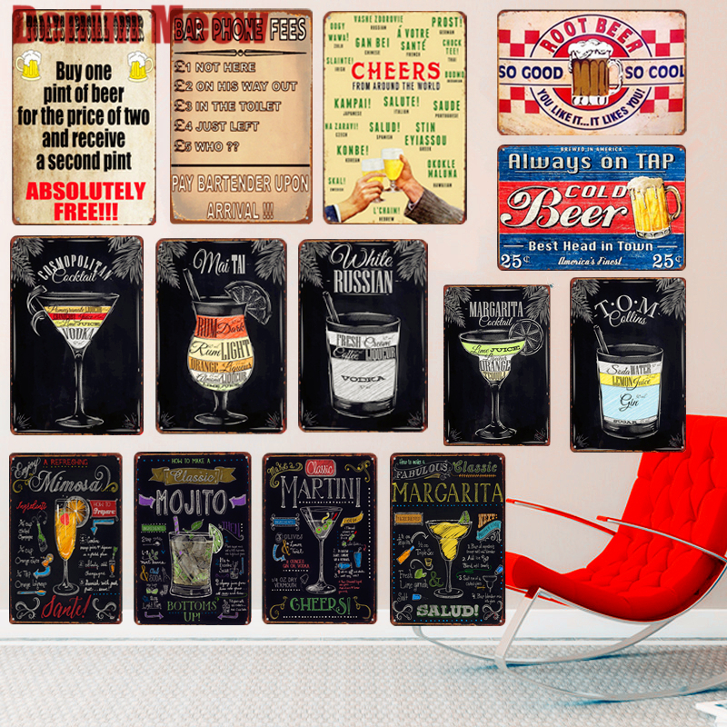 Margarita Plaque Vintage Metal Tin Signs Home Bar Pub Decorative Metal Plates Cosmopolitan Wall Stickers Beer Art Poster N212 signs