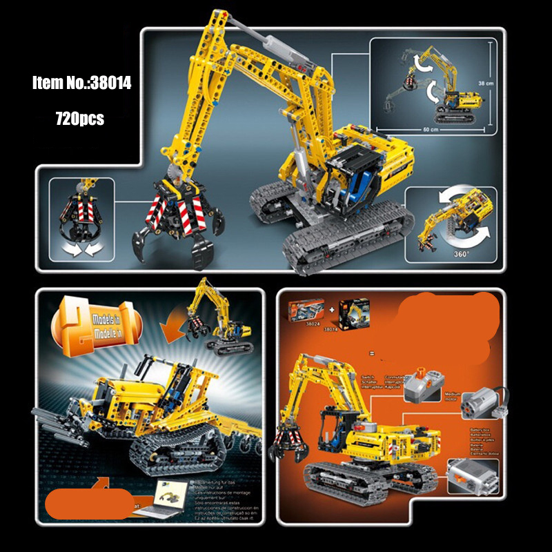 Technic 2in1 Excavator Building Blocks kit Bricks Set Classic City Model educational creative DIY Kids Toys Gifts 38014 in Blocks from Toys Hobbies