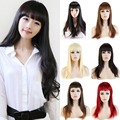 "23"" (58cm) Women's Black/Brown/Blonde/Red/ Long Straight Neat Bangs Full Wigs Daily Costume Dress Synthetic Wig"