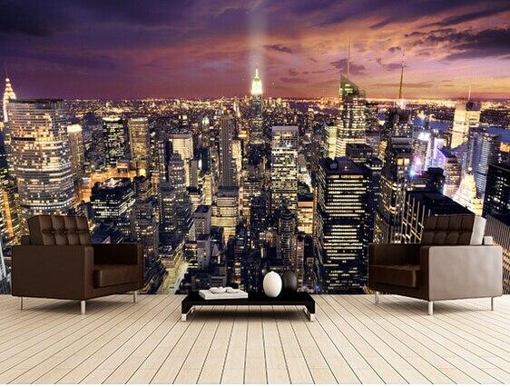 Custom photo wallpaper, New York skyscraper murals for apartments, residential, office background wall waterproof wallpaper