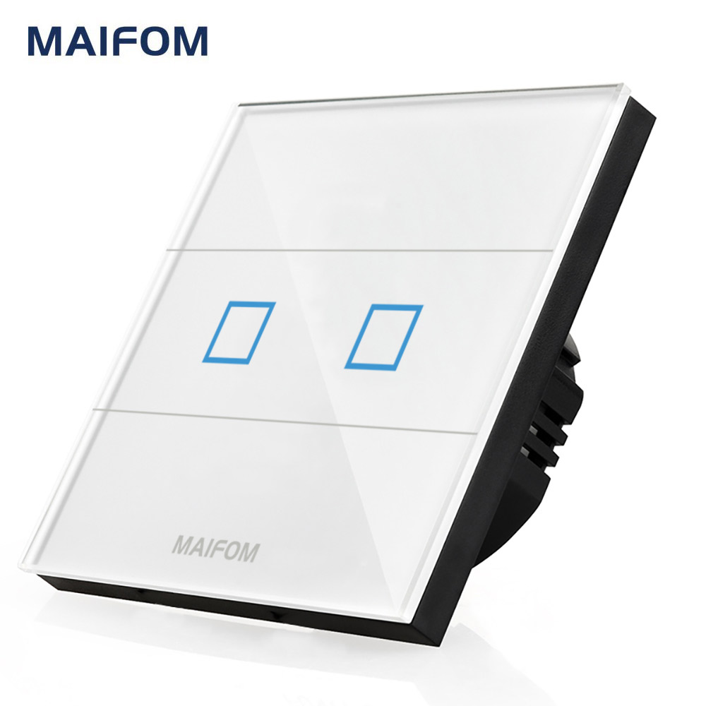 MAIFOM Touch Screen Switch Wall Mounted Crystal Glass Touch Panel 2 Gang 1 Way Waterproof 110-240V Capacitive Touch Light Switch 2017 free shipping smart wall switch crystal glass panel switch us 2 gang remote control touch switch wall light switch for led