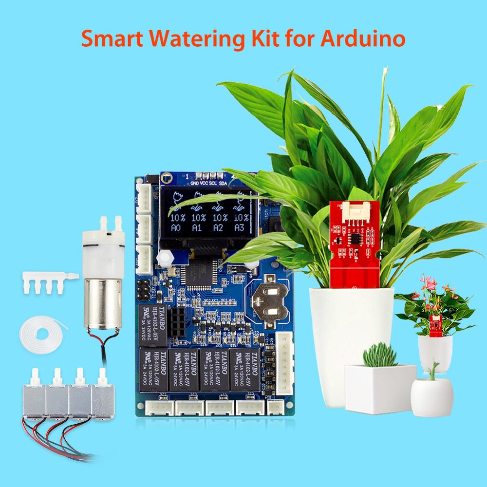 Elecrow Automatic Smart Plant Watering Kit for Arduino Electronic DIY Garden Water Smart Plant Capacitive Soil Moisture Sensor
