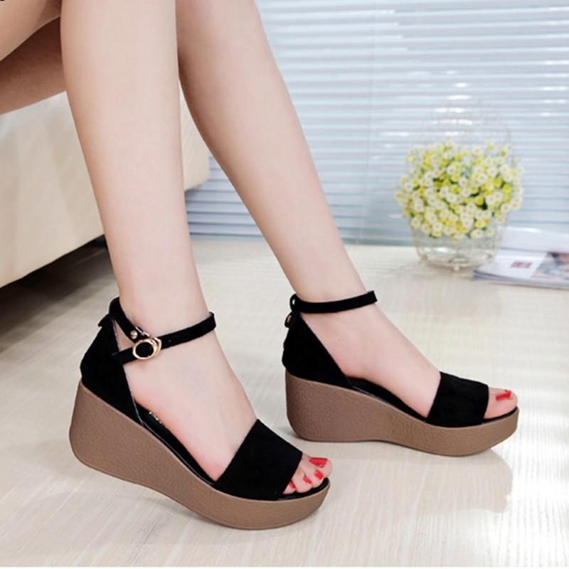 Altos Mujeres Cuero De Medio Zapatos Sandalias Qi068q Tacones Plataforma roCeWdxB