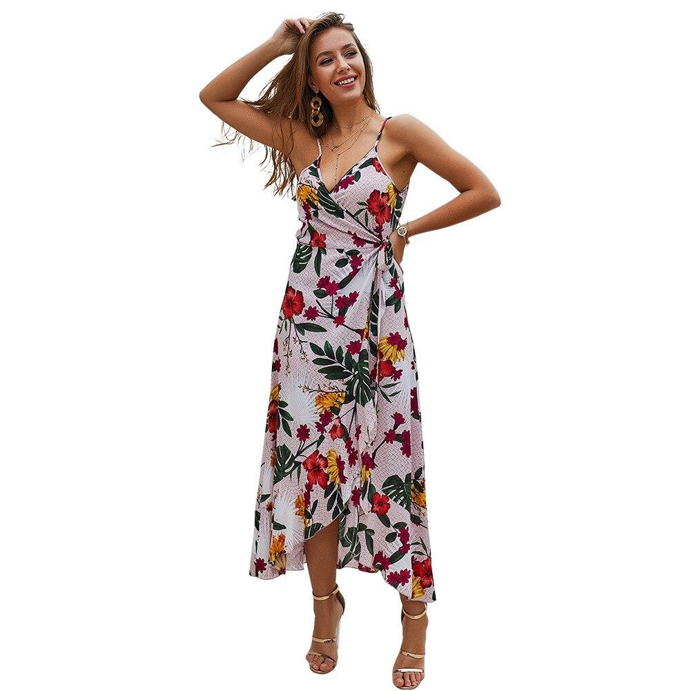 Summer Print Strap Sleeveless Deep V neck Sexy Long Dresses Womens 2019 Spaghetti Strap Long Chiffon Vintage Boho Dress Women in Dresses from Women 39 s Clothing