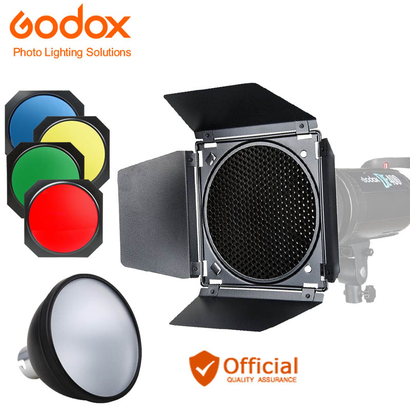 Godox BD-04 Barn Door+Honeycomb Grid + 4 Color Filter Red Blue Green Yellow + Bowen Mount Standard Reflector Flash Accessories
