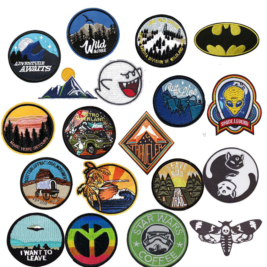 New Cat Peace Space Round Mountain Embroidery Patches For Clothing DIY Stripes Appliques Clothes Stickers Iron On Forest Badges