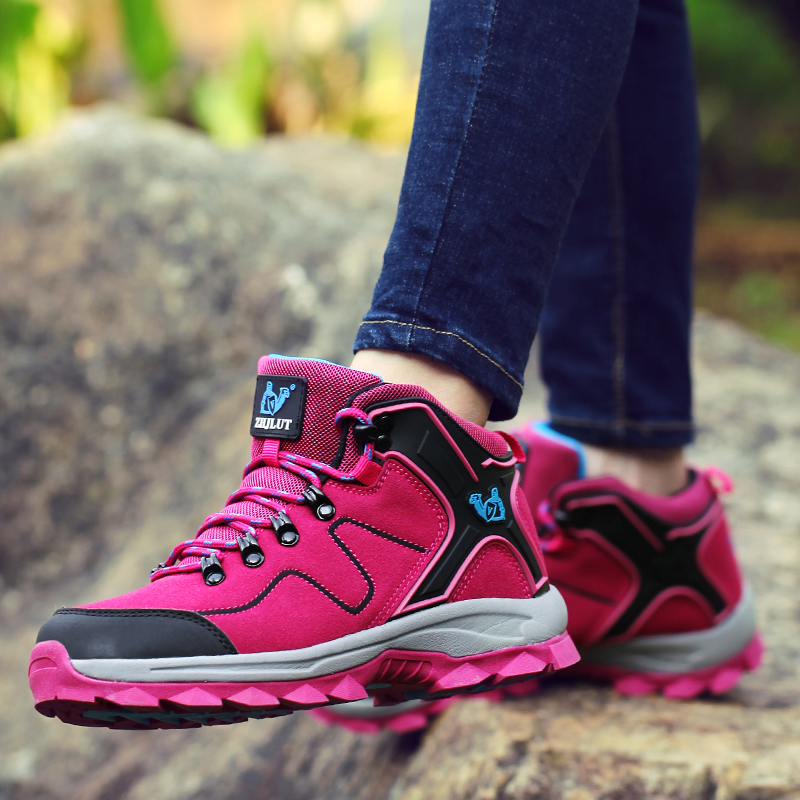 BeiWeiTe Women Winter Hiking Boots Shock Absorption High Top Ankle Shoes Women Camel Wearable Tourism Outdoor Sneakers Purple