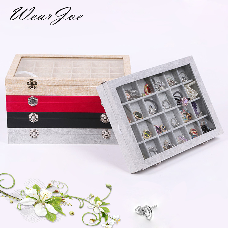 3 Styles Glass Top Jewelry Velvet Tray Decorative Accessory Storage Box 12/24/36 Grids Ring Earring Pendant Stand Casket Holder original xiaomi mi drone 4k 1080p version rc fpv quadcopter spare parts 17 4v 5100mah lipo battery for camera drones accessories