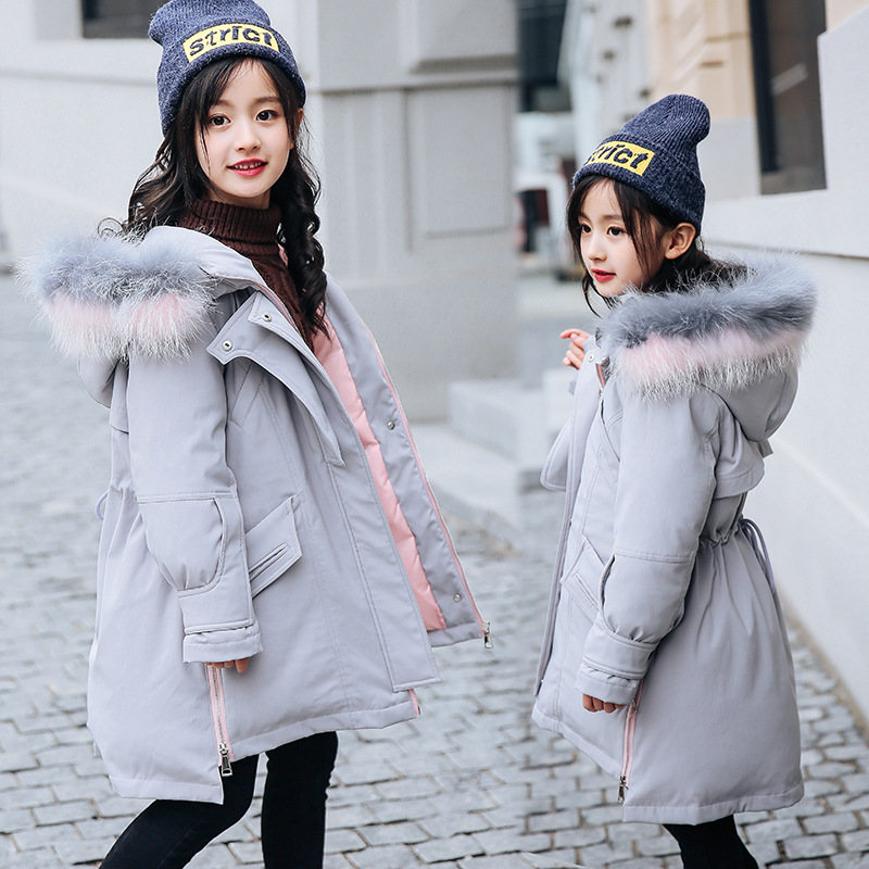 Girl WinterCoat Parka Long cotton Puffer Hooded Fur Collar Children Winter Jacket Kids Thick Warm Girls Clothing ClothesTeenage gkfnmt winter jacket women 2017 fur collar hooded parka coat women cotton padded thicken warm long jacket female plus size 5xl