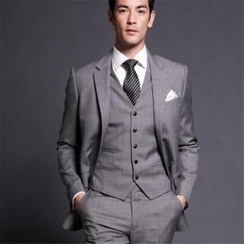 new Jacket Pants Vest  New Men Business Slim Suits Sets Wedding Dress Three-piece Suit Blazers Coat Trousers Waistcoat Grey
