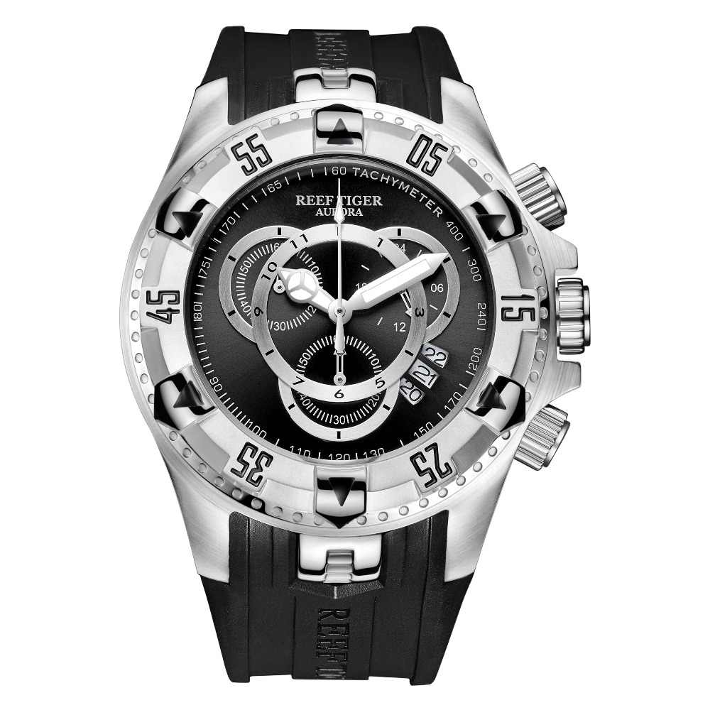 Reef Tijger/Rt Mens Sport Horloge Waterdicht Stalen Chronograaf Stop Watch Rubber Strap Top Selling Fashion Horloges RGA303-2