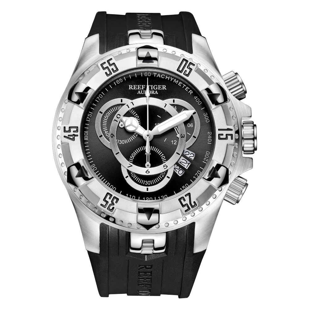 Reef Tiger/RT Mens Sport Watch Waterproof Steel Chronograph Stop Watch Rubber Strap Top Selling Fashion Watches RGA303-2