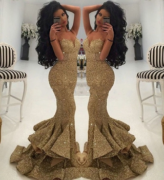 Cheap Price Luxurious Gold Sweetheart Sequined Mermaid Prom Dresses 2017 Spaghetti Straps Draped Ruffles Formal Evening Dress