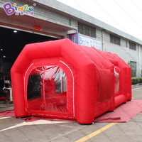 Personalized 5.8X3.2X2.5 meters red inflatable spray paint booth tent / inflatable car repair spray tent toy tents