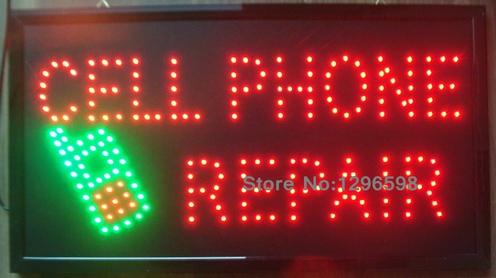 5pcs/lot 2017 direct sale led cell phone repair custom sign 10*19 inch semi-outdoor Ultra Bright advertising Running signage