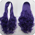 Dark Purple Wig Synthetic Sexy Party Hair Women's Long Wavy Cosplay Anime Full Wigs Dark Purple Wig