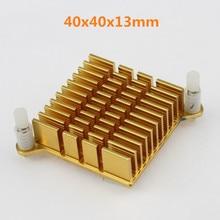 1pcs Golden Aluminum IC Two-electrode Tube Dynatron Cooling Heat Sink with tape 40x40x13mm Heatsinks