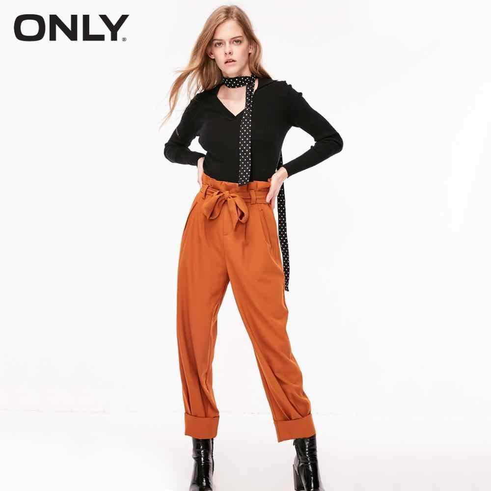 Sadece yaz kadın dantel-up yüksek katlı haddelenmiş mahsul pantolon | 118350528