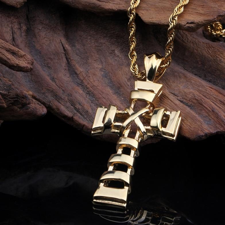 Free Shipping 316L Stainless Steel Gold  Personality Cross Punk Men's Boy's Pendants Necklaces,Noble Fashion Jewelry