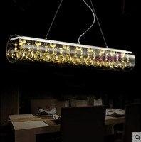 2019 LED 90cm kreative kunst bar bar restaurant esszimmer tisch rechteckigen glas k9crystal kronleuchter 110 240v-in Pendelleuchten aus Licht & Beleuchtung bei