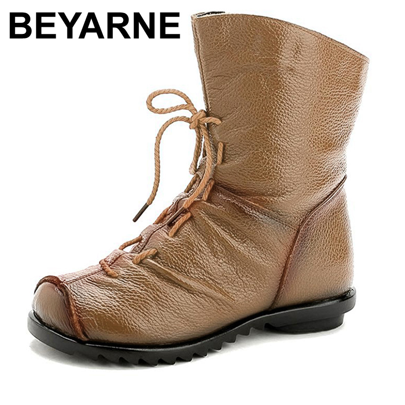 BEYARNE 2017 Women Fashion Vintage Genuine Leather Shoes Female Spring Autumn Platform Ankle Boots Woman Lace Up Casual Boots front lace up casual ankle boots autumn vintage brown new booties flat genuine leather suede shoes round toe fall female fashion
